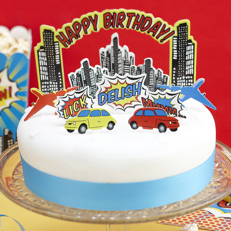 birthday cake stickers for facebook ; original_birthday-cake-toppers-pop-art-superhero-party