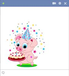 birthday cake stickers for facebook ; sticker-piggy-with-birthday-cake