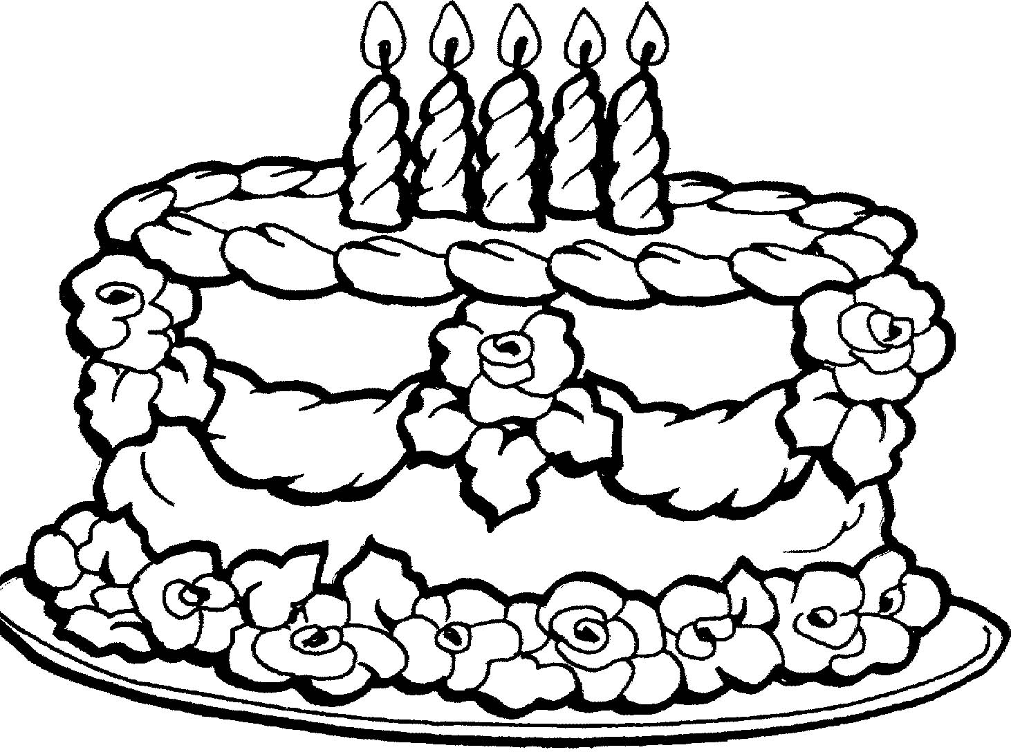 birthday cakes to colour in sheets ; birthday-cake-coloring-pages
