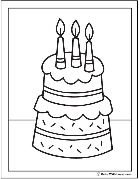 birthday cakes to colour in sheets ; pdf-birthday-cake-coloring-page