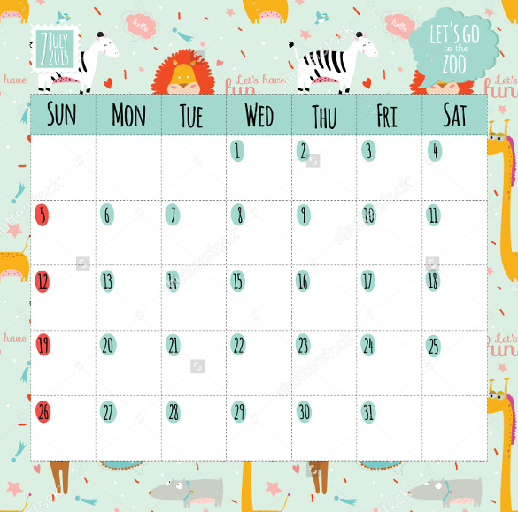 birthday calendar design templates ; Birthday-Calendar-Template-Wwith-Cartoon-Images