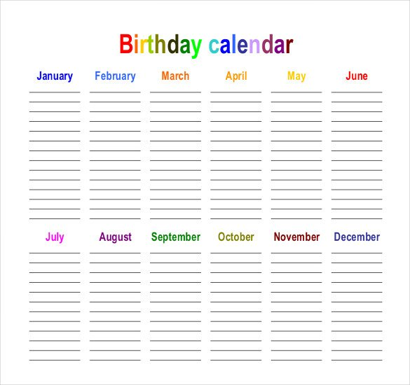 birthday calendar design templates ; Birthday-calendars-in-landscape-orientation