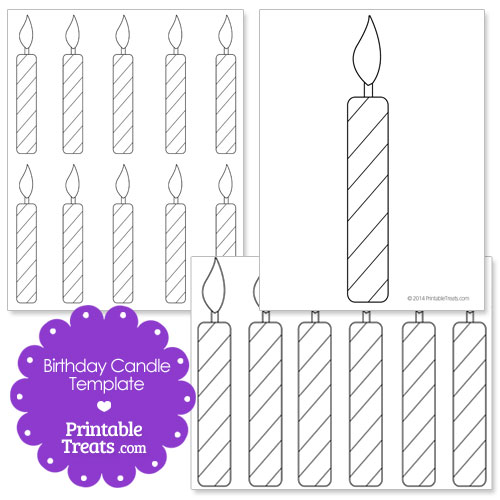 birthday candle coloring page ; printable-birthday-candle-shape-template