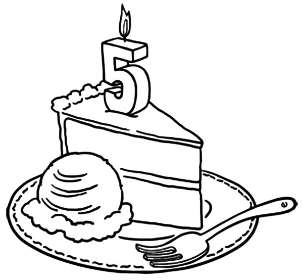 birthday candle drawing ; Number-Five-Birthday-Candle-on-Slice-of-Cake-Coloring-Pages