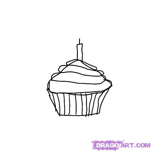 birthday candle drawing ; drawn-cupcake-candle-drawing-1