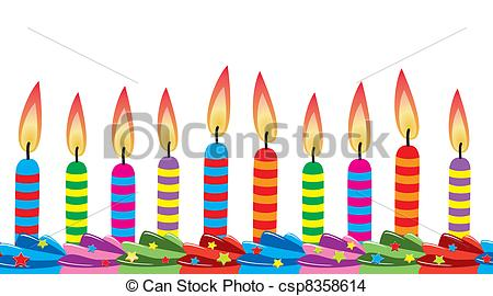 birthday candle drawing ; vector-row-of-birthday-candles-eps-vector_csp8358614