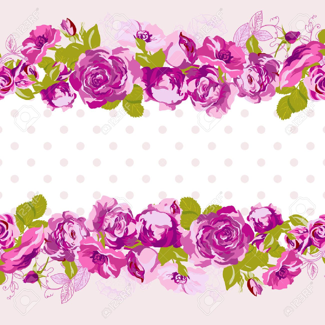 birthday card border design ; 29255650-seamless-border-of-blossom-roses-vector-floral-greeting-card-spring-background-for-wedding-birthday-