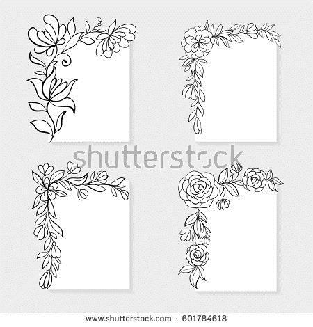 birthday card border design ; stock-vector-set-of-black-and-white-hand-drawn-corner-floral-borders-design-for-holiday-greeting-card-and-601784618