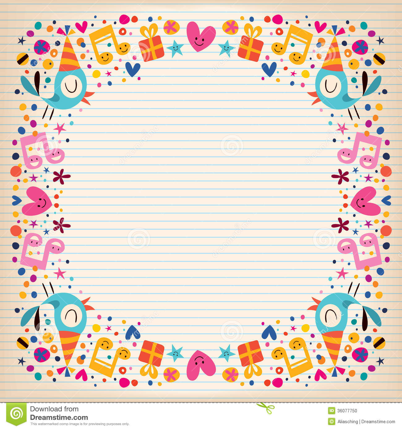 birthday card borders ; happy-birthday-border-lined-paper-card-cute-characters-36077750