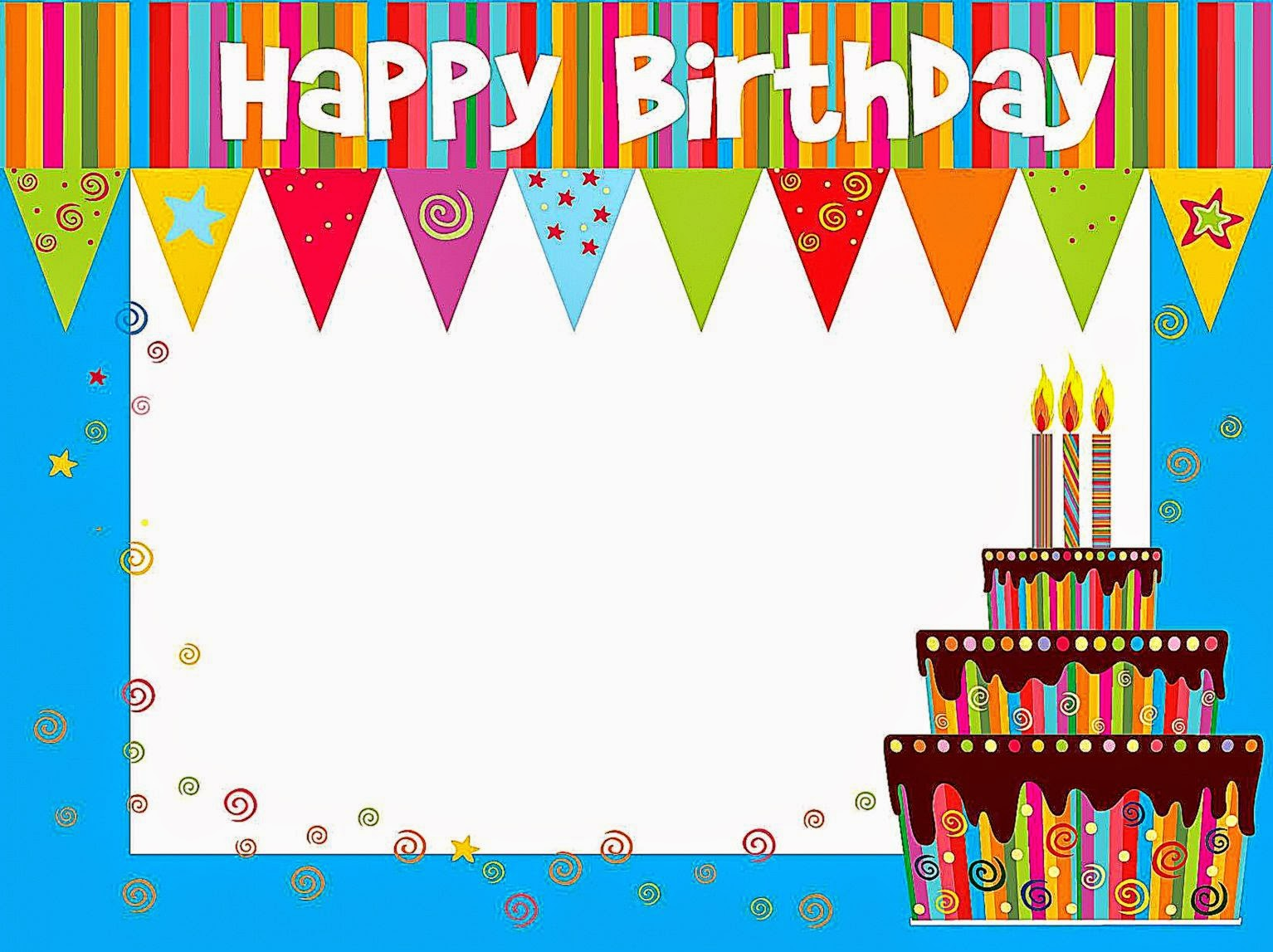 birthday card borders ; printable-happy-birthday-cards-modern-blue-border-colourfull-decoration-on-top-white-birthday-greeting-big-tart-white-text-area-where-you-can-write-your-wish