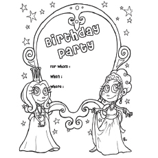 birthday card coloring page ; The-Birthday-Invitation-Card