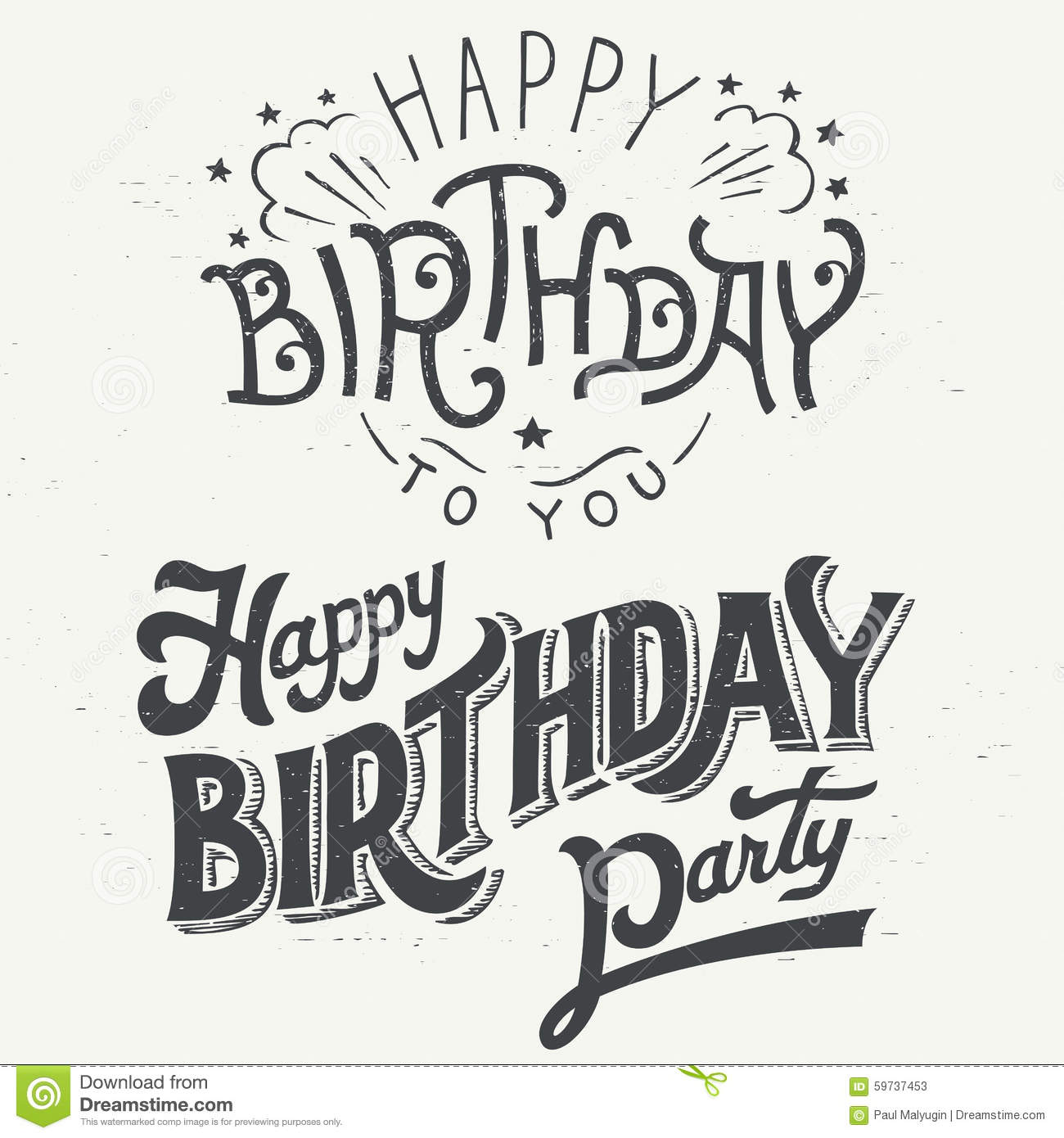 birthday card design drawing ; happy-birthday-hand-drawn-typographic-design-set-greeting-cards-vintage-style-59737453
