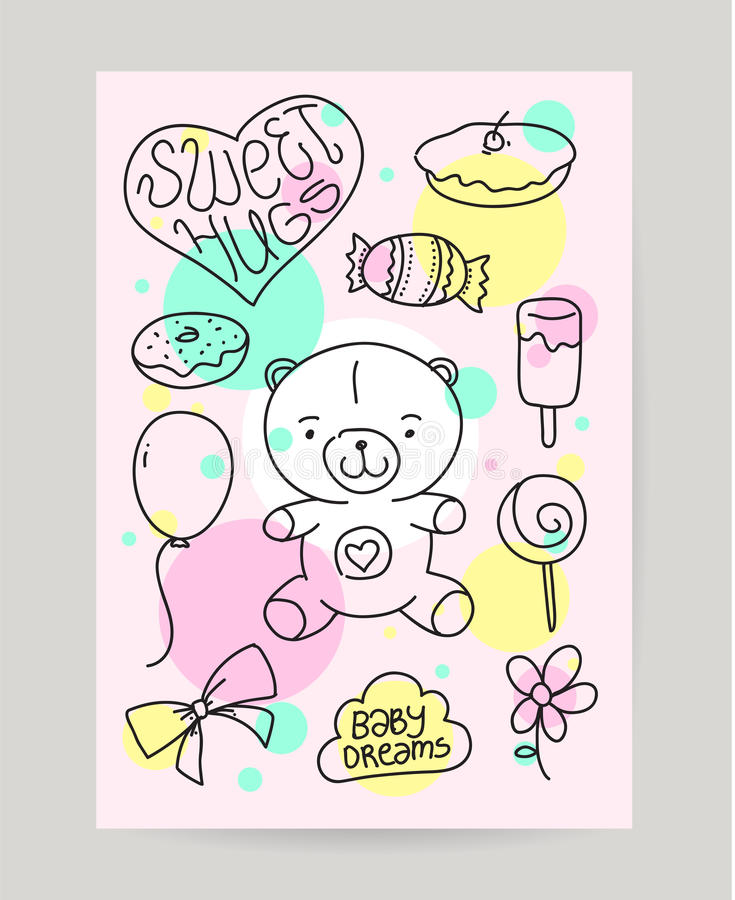 birthday card design drawing ; kid-s-hand-drawn-greeting-card-design-doodle-cheerful-nice-teddy-bear-sweet-food-gift-ballon-useful-happy-birthday-62490347