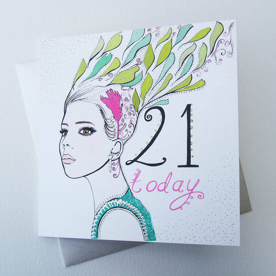 birthday card design drawing ; prodigous-woman-21st-birthday-card-hair-today-sending-greeting-friends-creative-design-hand-drawing-colorful