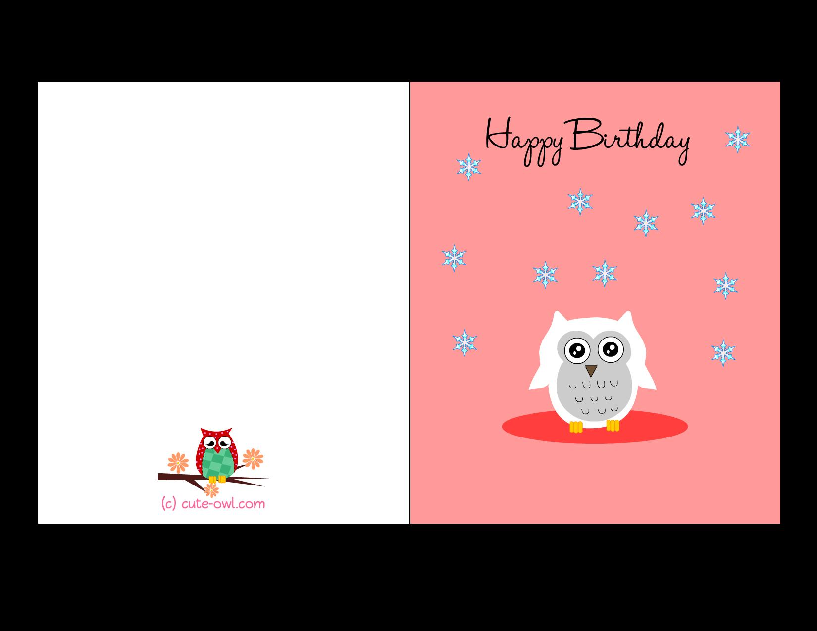 birthday card design printable ; cute-snowy-owl-happy-birthday-card-soft-pink-background-white-owl-winter-snow-items-decorations-printable-birthday-card