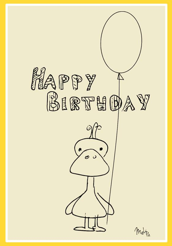 birthday card design printable ; innovative-free-hallmark-printable-birthday-cards-further-newest-card-black-and-white-themes-with-duck-and-balloon-in-his-hand-and-yellow-frame