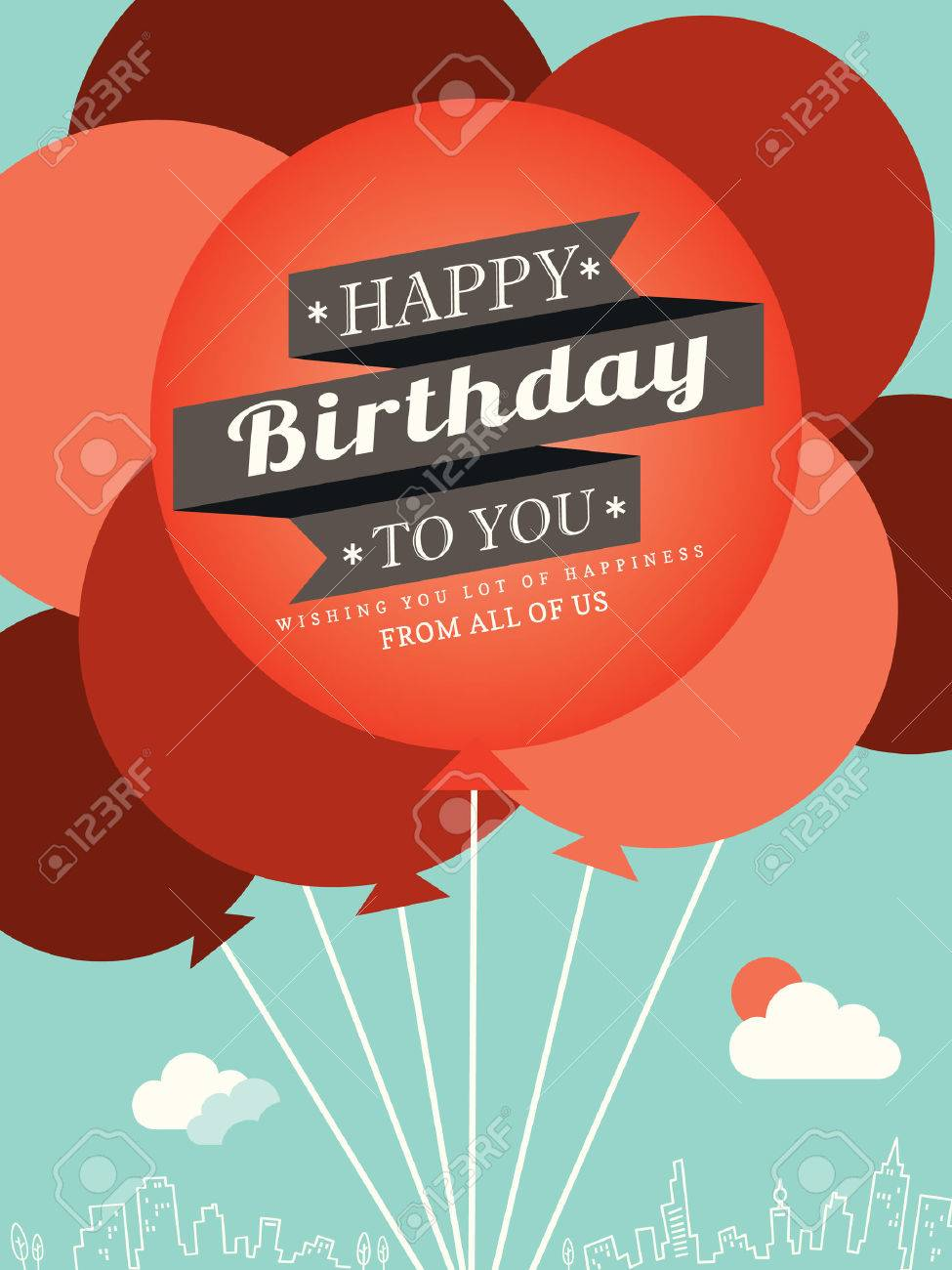 birthday card design template ; 25948117-happy-birthday-card-design-template-balloon-illustration