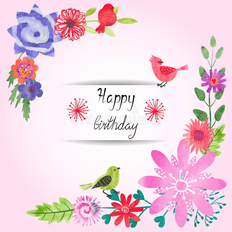 birthday card design template ; birthday-card-design-watercolor-flowers-cute-birds-colorful-floral-vector-template-74189639