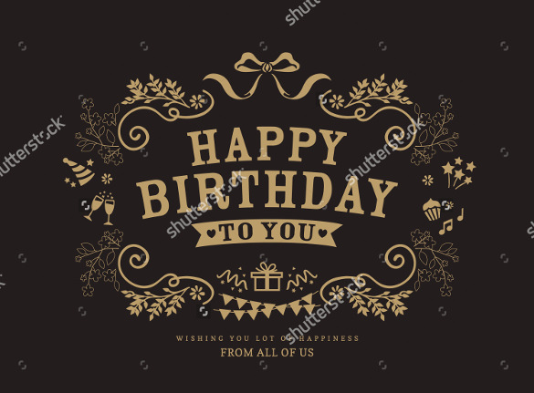 birthday card design template free ; Vintage-Birthday-Card-Template