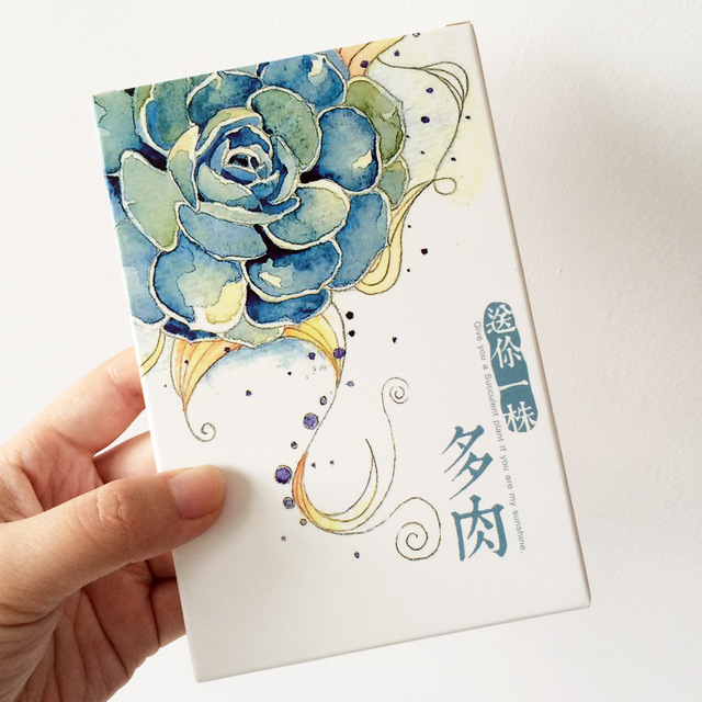 birthday card drawings ; 30-pcs-pack-Hand-Drawing-Watercolor-Succulent-Plants-Greeting-Card-Postcard-Birthday-Gift-Card-Set-Message