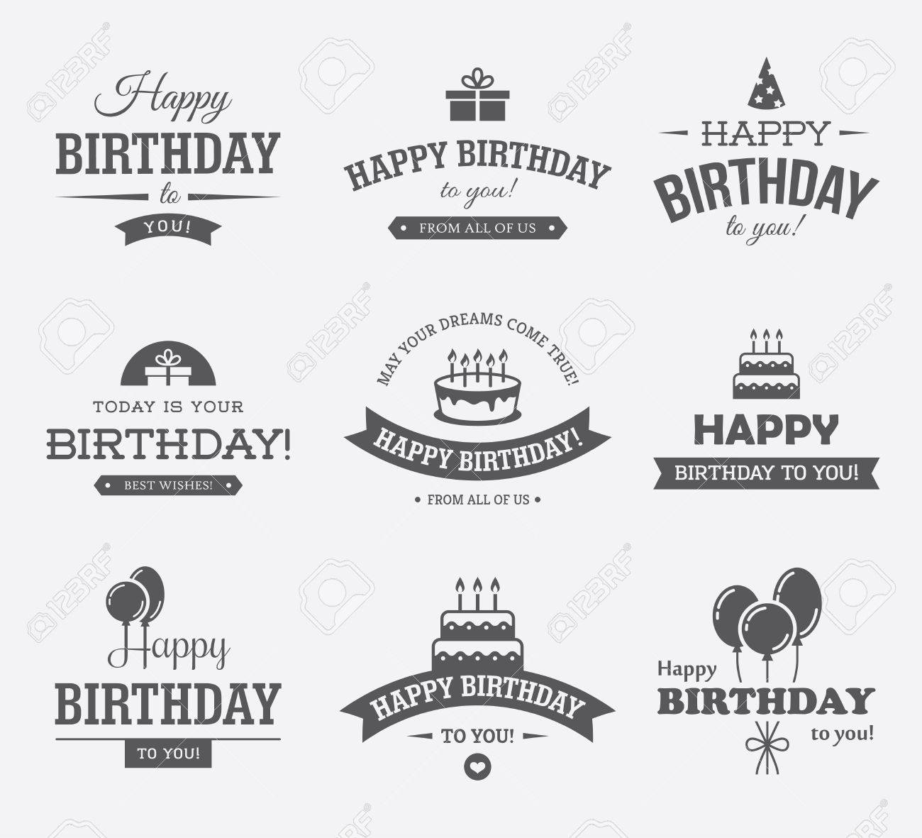 birthday card labels ; 56401092-set-of-black-typographic-birthday-labels-with-cake-gift-box-balloons-and-hat-icons-and-symbols-can-b