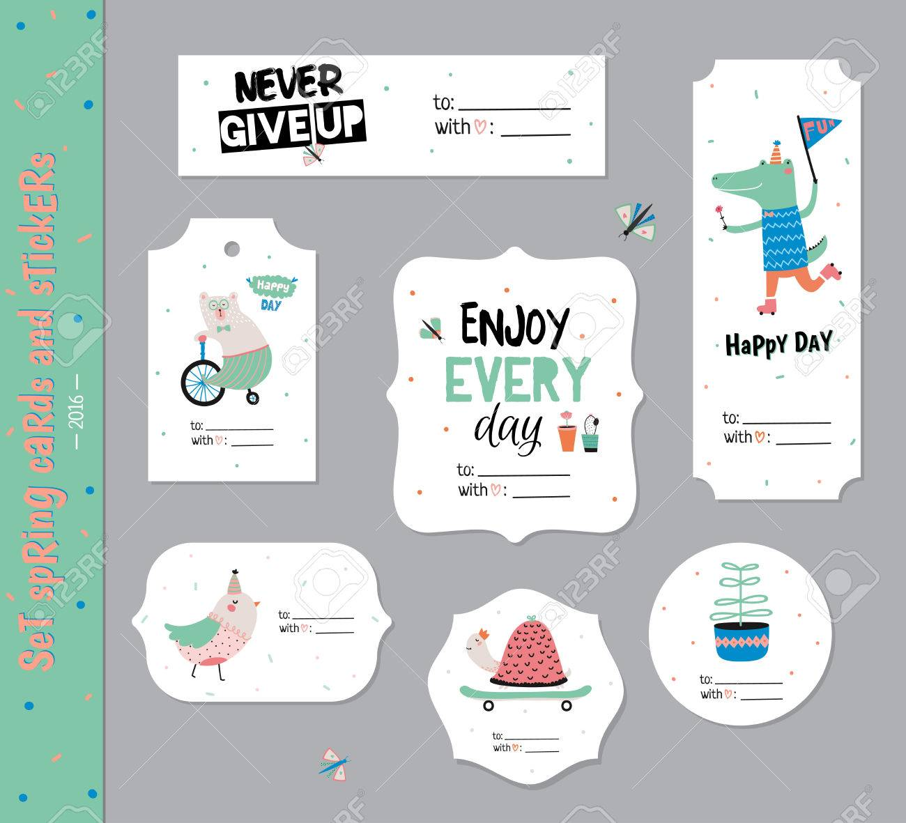 birthday card labels ; 58384880-set-of-birthday-cards-gift-tags-labels-templates-and-stickers-with-funny-kids-animals-