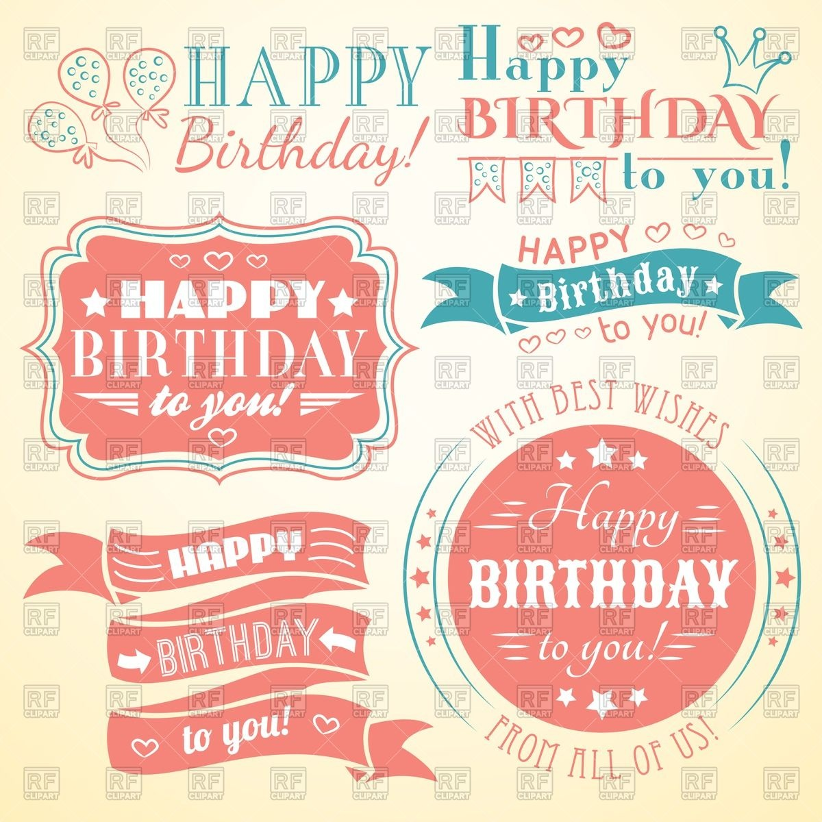 birthday card labels ; happy-birthday-retro-banners-labels-greeting-cards-and-frames-Download-Royalty-free-Vector-File-EPS-81240