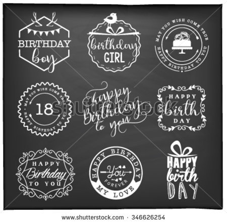 birthday card labels ; stock-vector-happy-birthday-greeting-card-design-elements-badges-and-labels-in-vintage-style-346626254