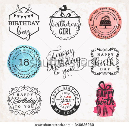 birthday card labels ; stock-vector-happy-birthday-greeting-card-design-elements-badges-and-labels-in-vintage-style-346626260