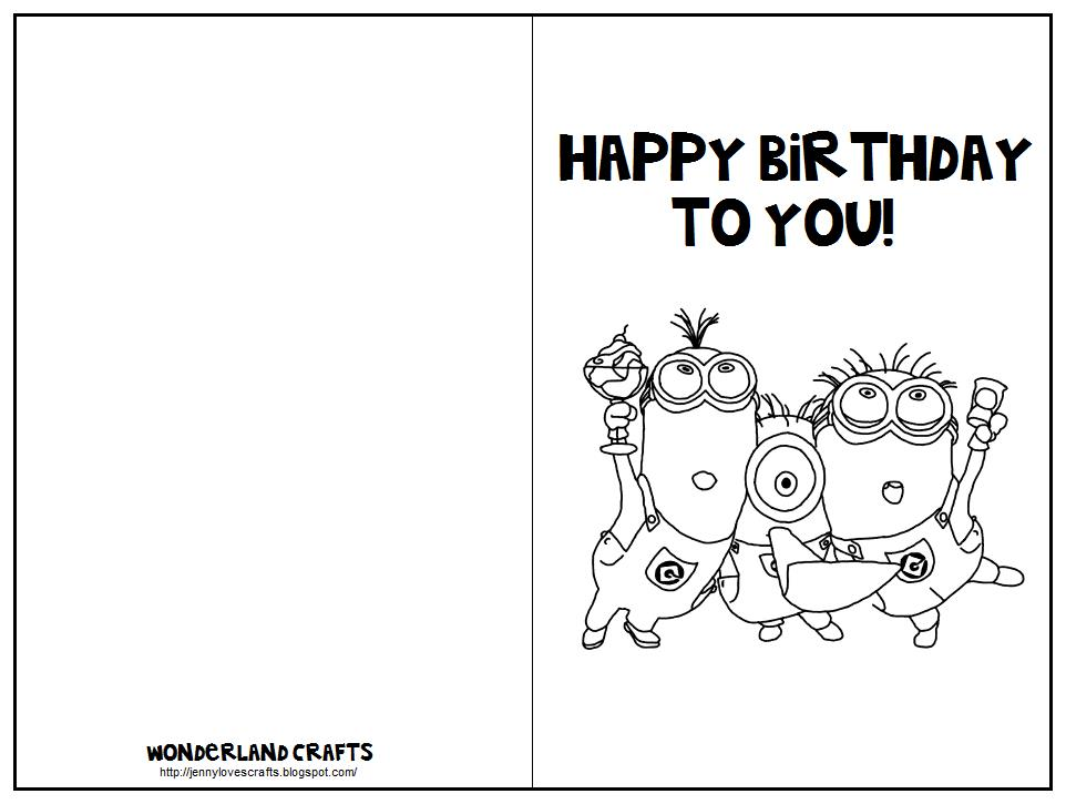birthday card printable coloring page ; CardTemplateMinions