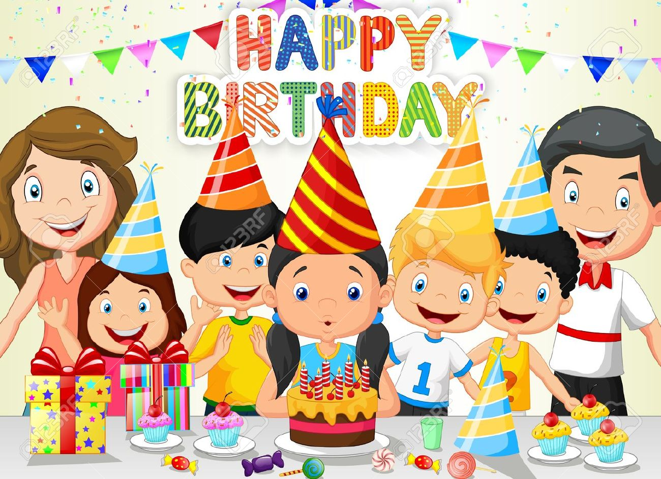 birthday celebration clipart ; 36777829-happy-girl-cartoon-blowing-birthday-candles-with-his-family-and-friends