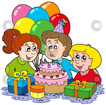 birthday celebration clipart ; party-clipart-birthday-party-scene-6
