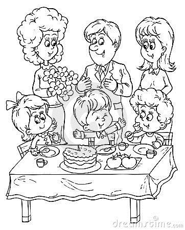 birthday celebration drawing ; 9ae28215229a07c7fd8edd506c2a8f10_birthday-party-royalty-free-stock-photos-image-14974018-kids-birthday-party-clipart-black-and-white_362-450