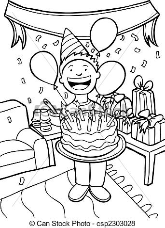 birthday celebration drawing ; birthday-party-time-eps-vector_csp2303028
