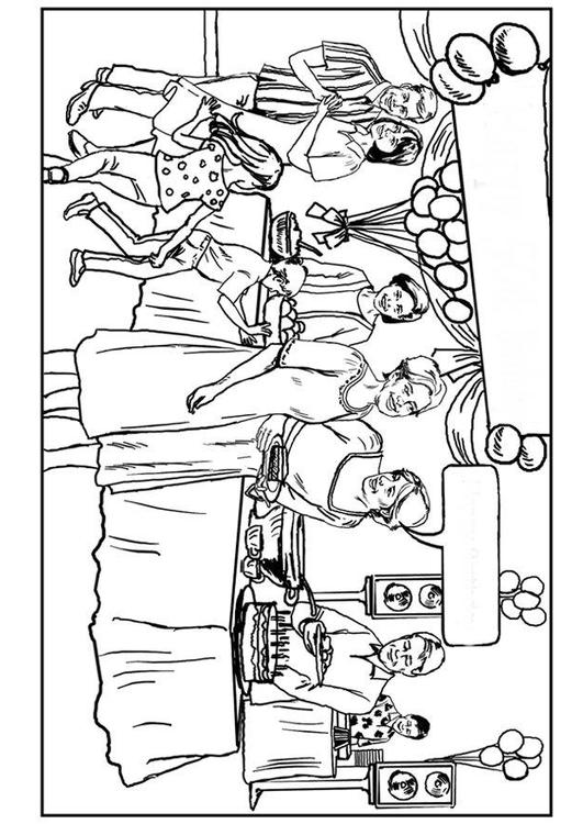 birthday celebration drawing ; coloring-page-birthday-party-p7538