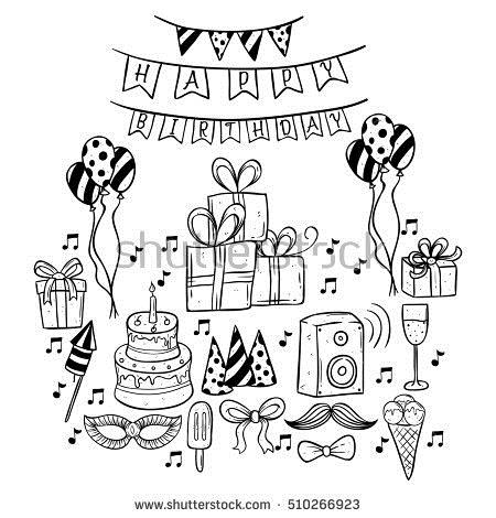 birthday celebration drawing ; stock-vector-set-of-doodle-or-hand-drawing-birthday-party-icons-510266923