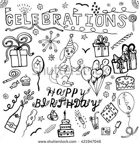 birthday celebration drawing ; stock-vector-vector-hand-drawing-set-about-happy-birthday-celebration-sketch-collection-hand-drawn-vector-421947046