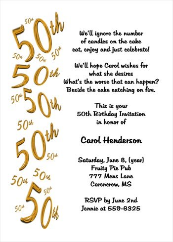 Birthday Celebration Invitation Quotes 7039FF 50th Party