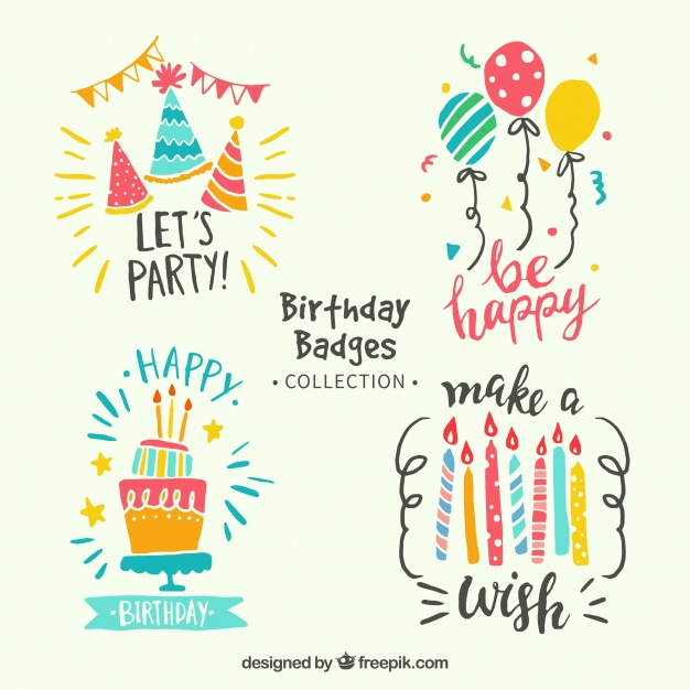 birthday celebration stickers ; colorful-birthday-stickers-pack-in-retro-style_23-2147642121