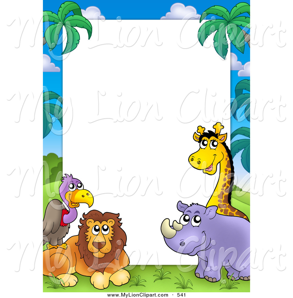 birthday clip art borders and frames ; birthday-clip-art-borders-and-frames-clipart-of-a-pretty-border-frame-of-a-vulture-lion-rhino-and-giraffe-around-white-space-by-visekart-541