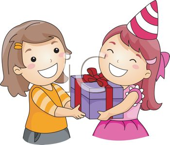 birthday clipart for friend ; 0511-1302-1511-5747_picture_of_a_happy_girl_receiving_a_birthday_gift_from_her_happy_friend_in_a_vector_clip_art_illustration_clipart_image