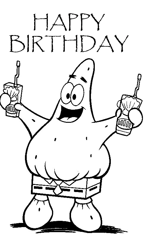birthday coloring pages free printable ; happy-birthday-spongebob-coloring-pages