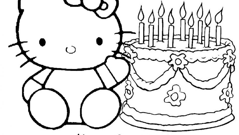 birthday coloring printables ; happy-birthday-coloring-pages-hello-kitty-and-cake-960x544