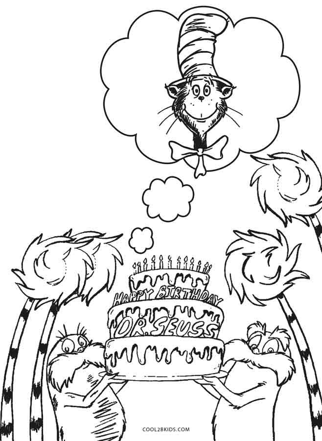 birthday coloring sheets ; Dr-Seuss-Birthday-Coloring-Pages