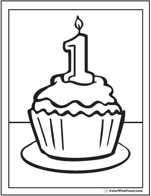 birthday cupcake coloring page ; 1st-birthday-cupcake-coloring-pages