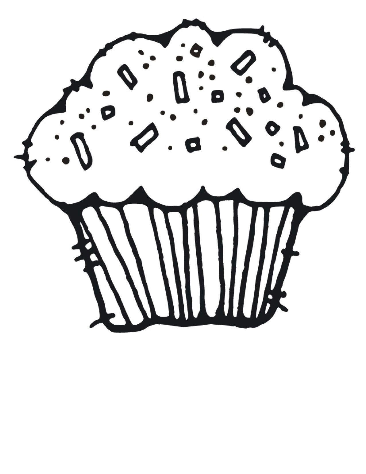 birthday cupcake coloring page ; Birthday-Cupcake-Coloring-Pages