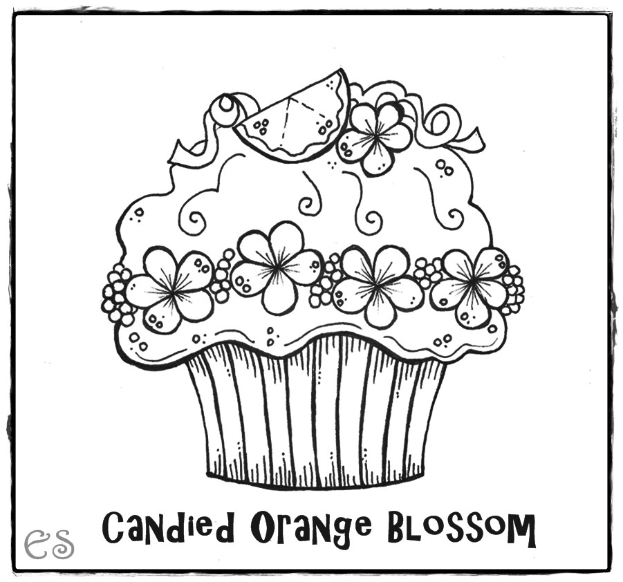 birthday cupcake coloring page ; Candied+Orange+Blossom+coloring+page