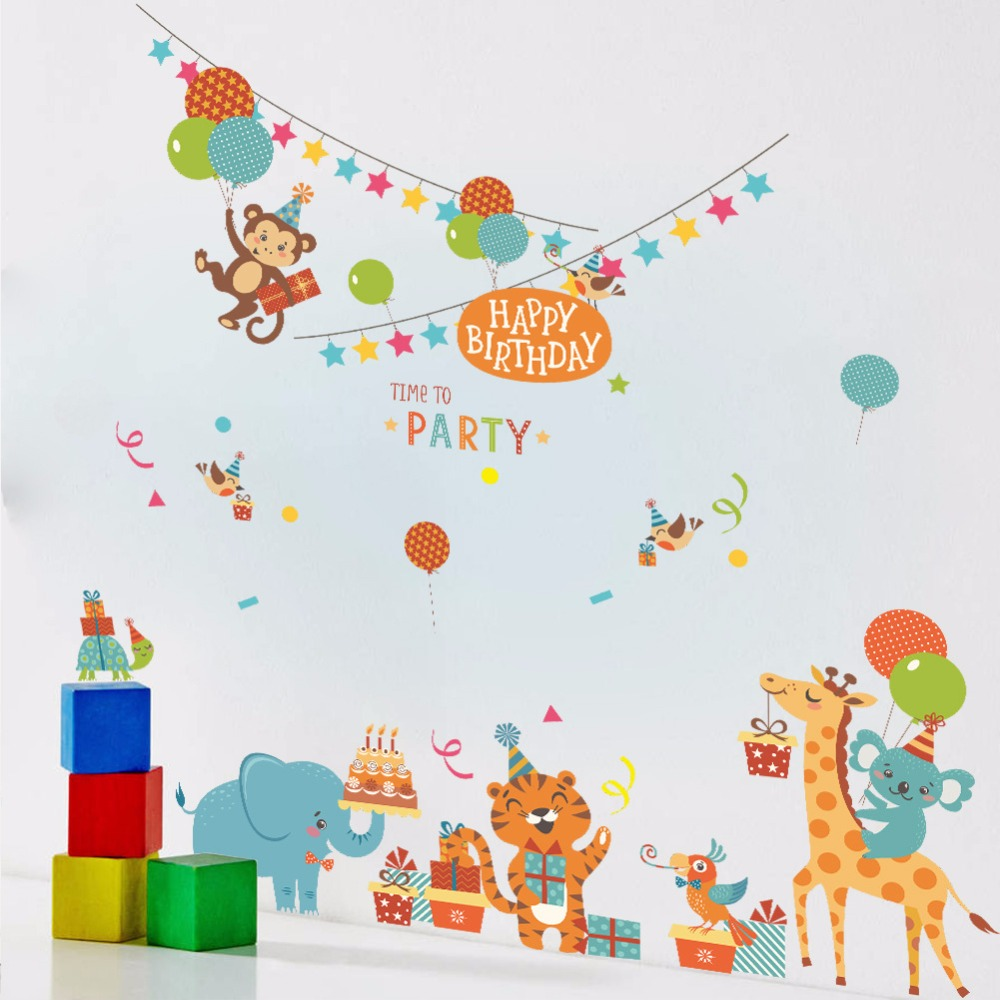 birthday decoration wallpaper ; Cartoon-Animals-Birthday-Party-Wall-Stickers-Kids-Room-Nursery-Wallpaper-Poster-Tiger-Monkey-Giraffe-Elephant-Party
