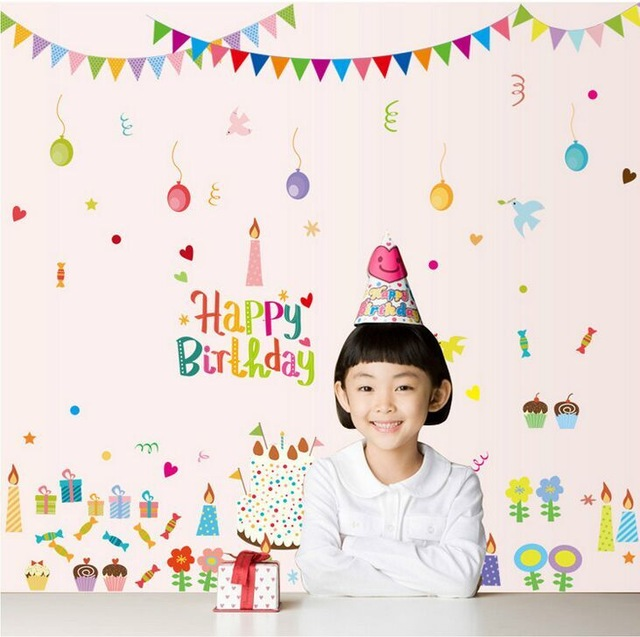 birthday decoration wallpaper ; Lovely-Cartoon-Happy-Birthday-DIY-PVC-Removable-Wall-Stickers-Kids-Room-Nursery-Living-Room-Decor-Mural