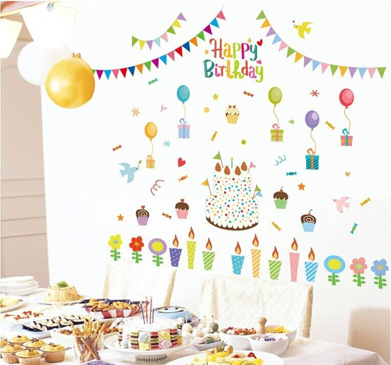 birthday decoration wallpaper ; New-DIY-cake-birthday-party-balloon-wallpaper-wall-sticker-ABQ9705-living-room-home-decoration-stickers-wall
